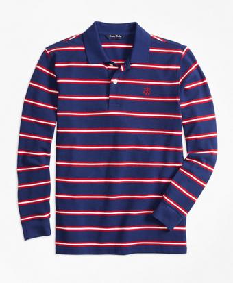Long-Sleeve Cotton Stripe Pique Polo Shirt