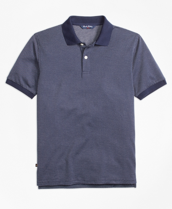 Cotton Bird's-Eye Polo Shirt Navy-White