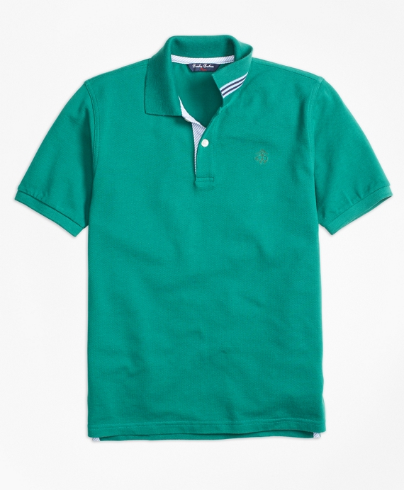 Short-Sleeve Cotton Pique Polo Shirt Dark Green