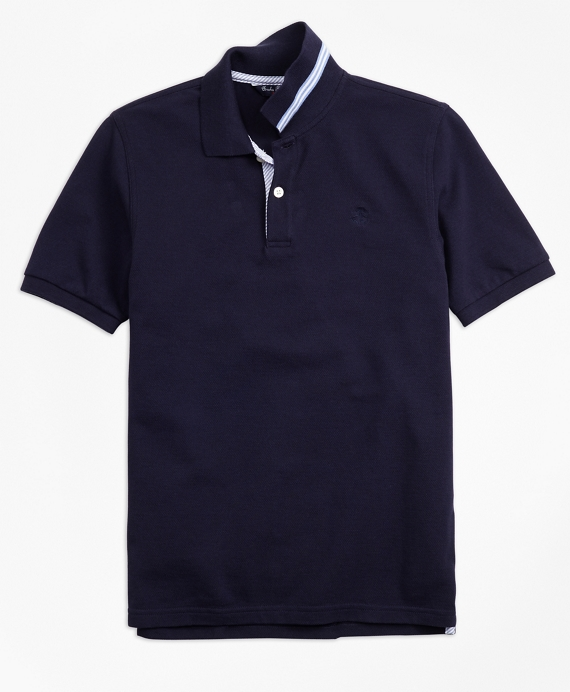 Short-Sleeve Cotton Pique Polo Shirt Navy
