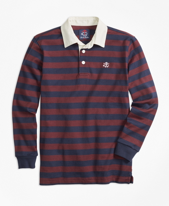 Classic Striped Rugby Navy-Burgundy