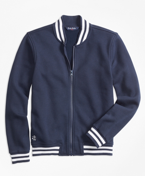 Pique Full-Zip Baseball Fleece Navy