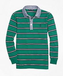 Mini Stripe Chambray Pique  Polo Shirt