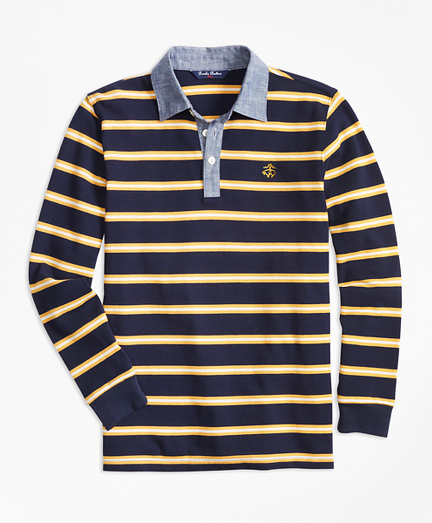 Mini Stripe Chambray Pique  Polo Shirt