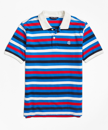 Short-Sleeve Bold Stripe Pique Polo