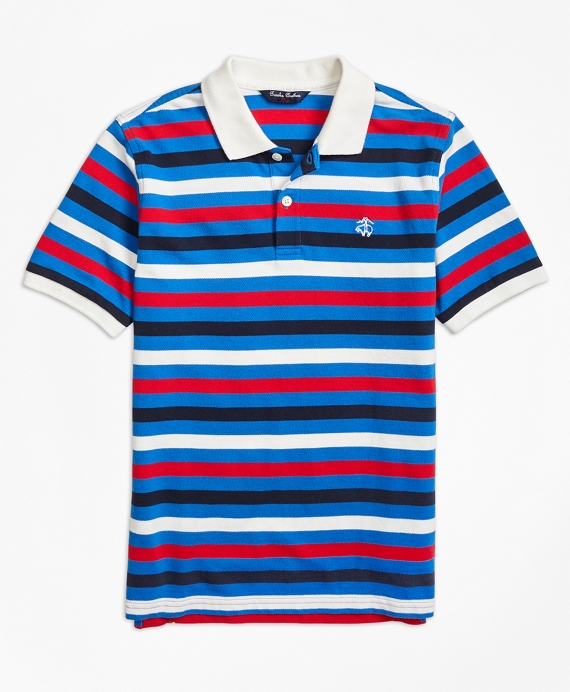 Short-Sleeve Bold Stripe Pique Polo Shirt
