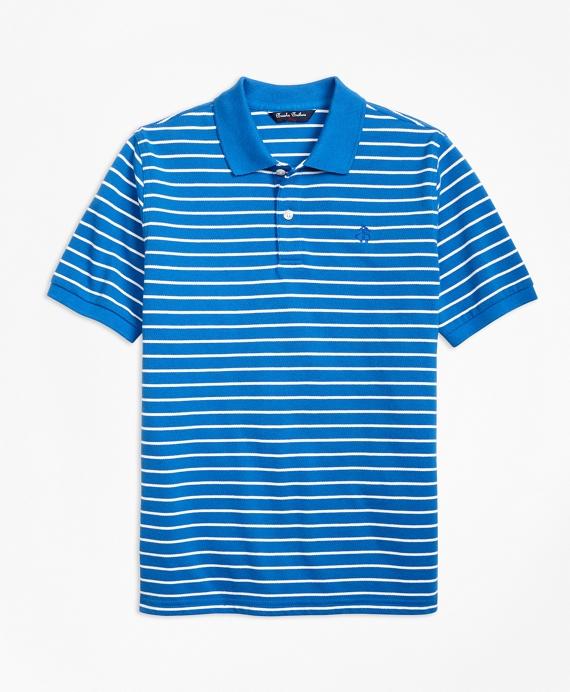 Short-Sleeve Thin Stripe Pique Polo Shirt