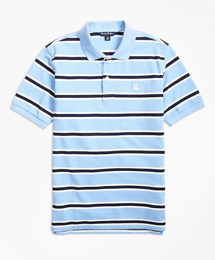 Short-Sleeve Alternate Stripe Pique Polo