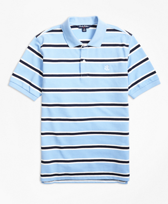 Short-Sleeve Alternate Stripe Pique Polo