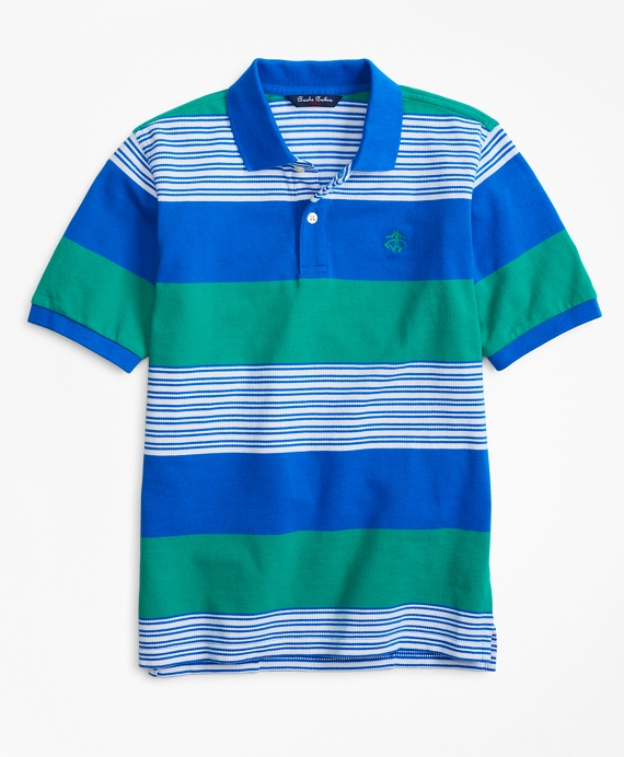 Rugby Stripe Pique Polo Shirt Blue-Green