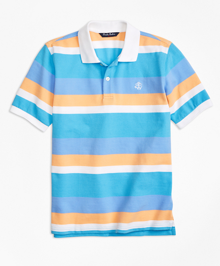 Wide Stripe Pique Polo Shirt