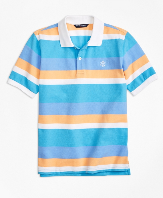 Wide Stripe Pique Polo Shirt Multi