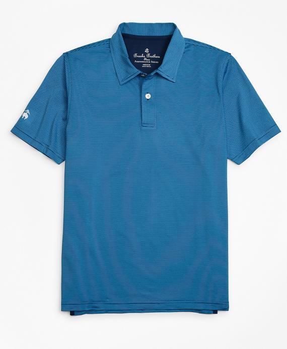Performance Feeder Stripe Polo Shirt Blue