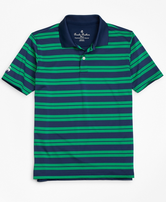 Performance Track Stripe Polo Shirt Navy-Green