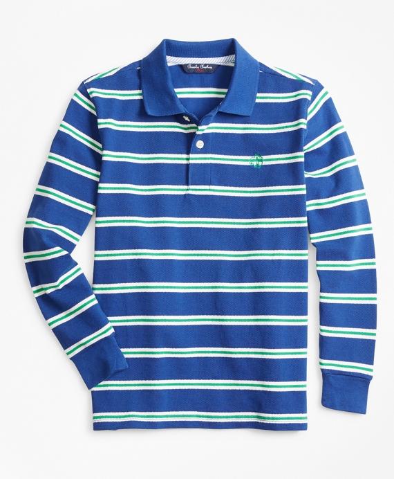 Cotton Long-Sleeve Stripe Polo Shirt Blue