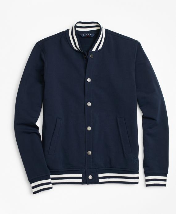 Knit Fleece Baseball Jacket Navy