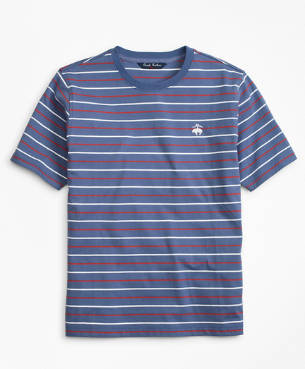 Cotton Short-Sleeve Multi-Stripe T-Shirt