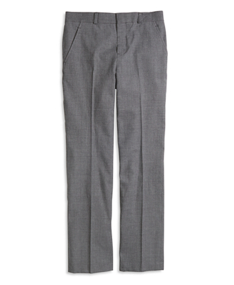 Flat-Front Houndstooth Suit Trousers