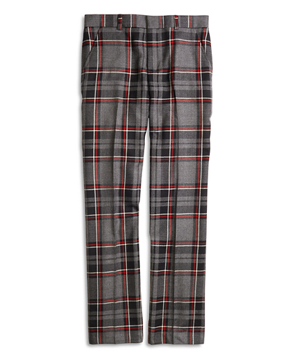 Flat-Front Plaid Wool Suit Trousers