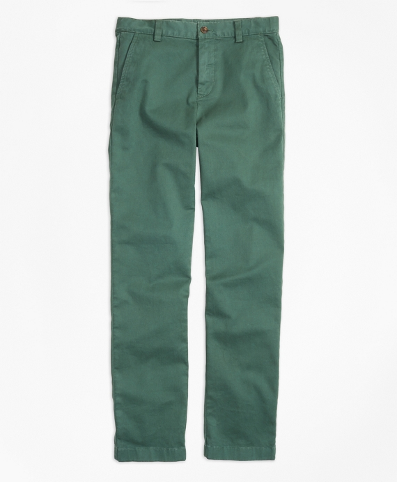 Washed Cotton Stretch Chinos Dark Green