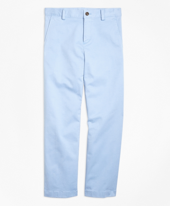 Washed Cotton Stretch Chinos Light Blue