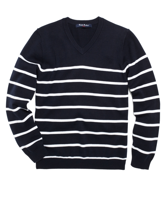 Striped V-Neck Sweater Navy