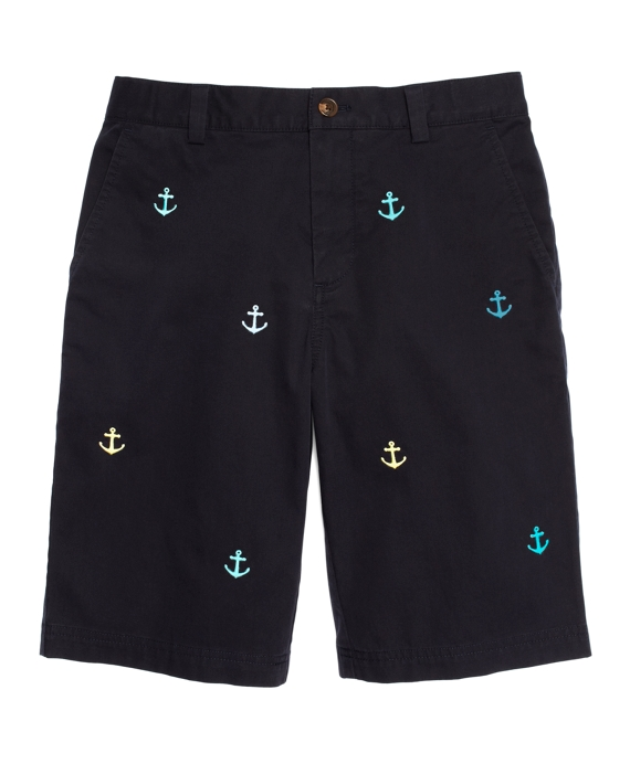 Plain-Front Anchor Embroidered Shorts Navy