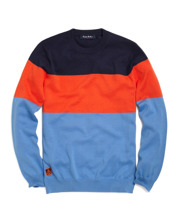 Supima® Color-Block Crewneck Sweater Navy-Orange-Blue