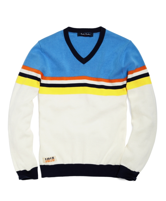 Supima® V-Neck Chest Stripe Sweater Blue-White