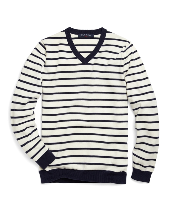 Supima® Striped Sweater White-Navy