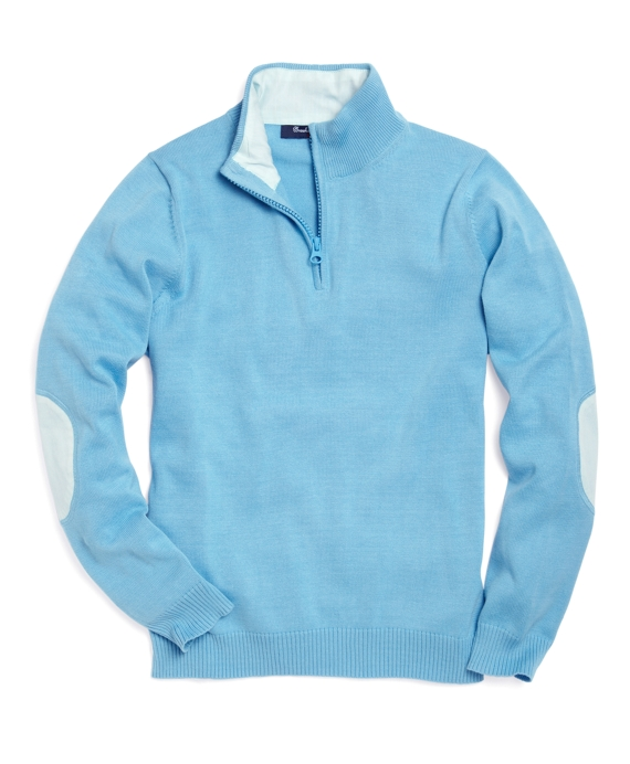 Supima® Elbow Patch Half-Zip Sweater Aqua