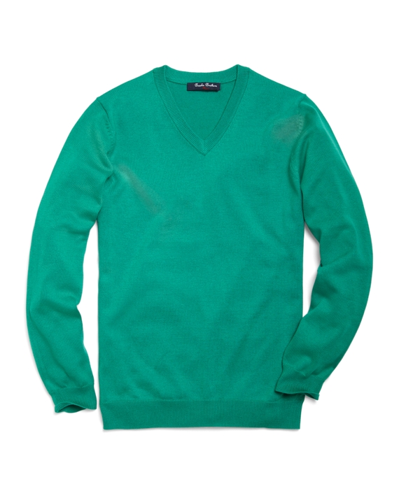 Supima® Solid V-Neck Sweater Dark Aqua