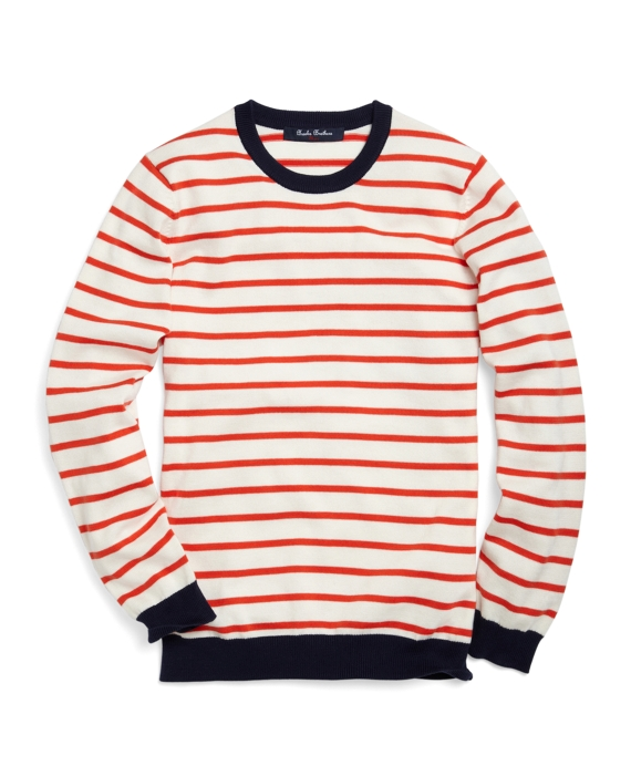 Supima® Red Stripe Sweater Ivory-Red