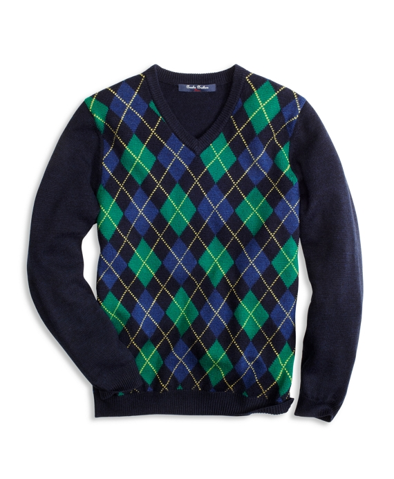 Argyle V-Neck Sweater Navy