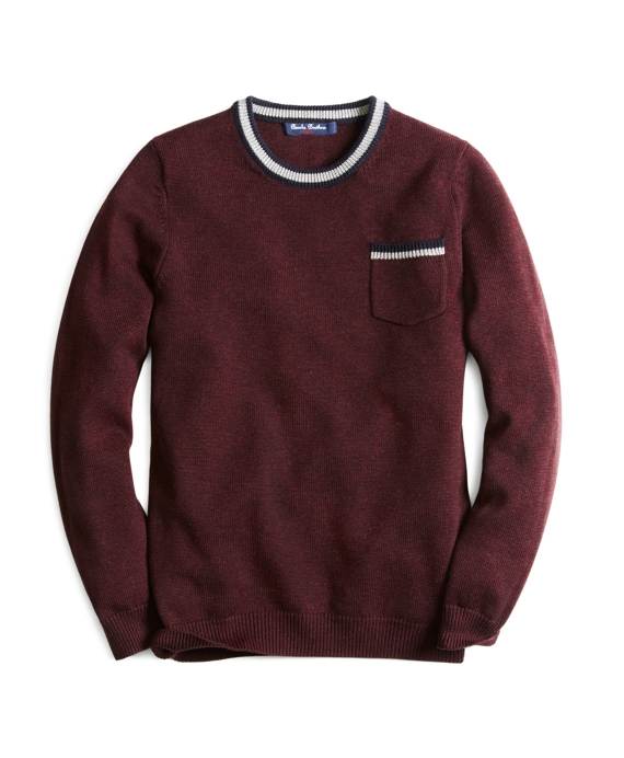 Tipped Pocket Crewneck Sweater Wine