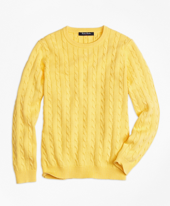 Crewneck Cable Sweater Yellow