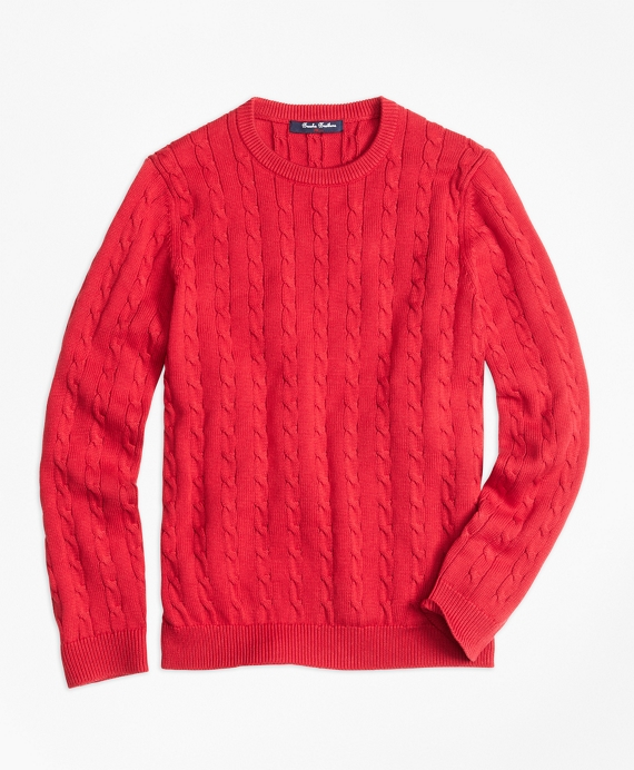 Crewneck Cable Sweater Red
