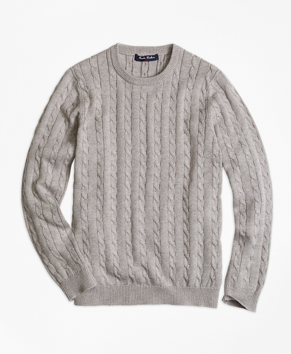Crewneck Cable Sweater Grey
