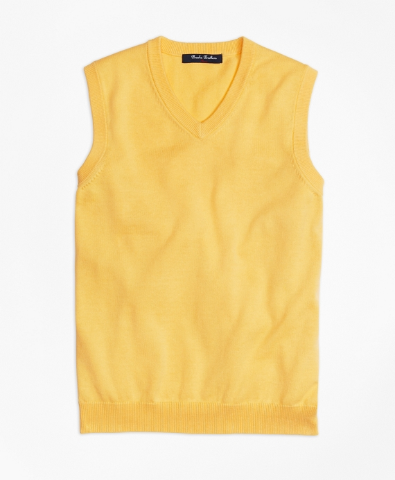 Boys' Yellow Cotton Sweater Vest | Brooks Brothers