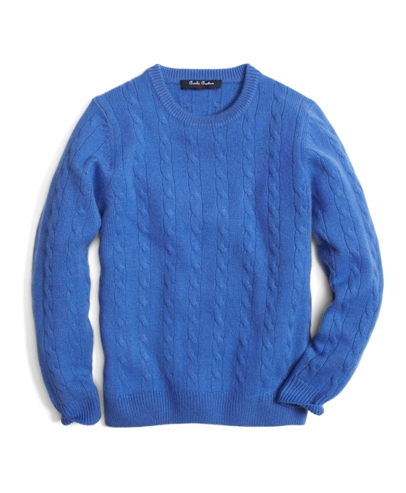 Cashmere Crewneck Cable Knit Sweater Blue