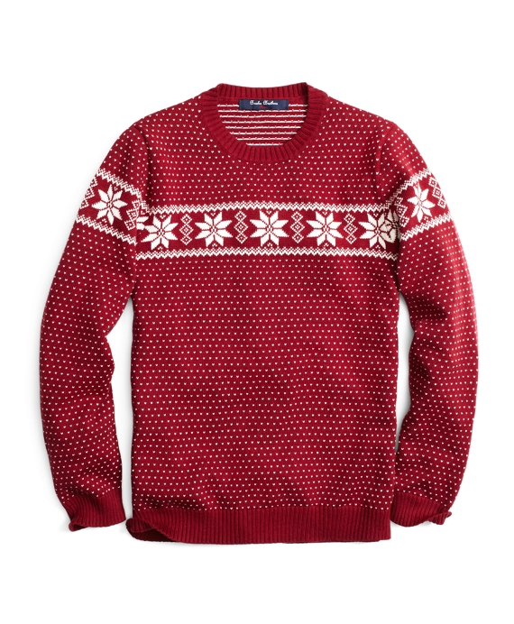 Dotted Fair Isle Crewneck Sweater - Brooks Brothers