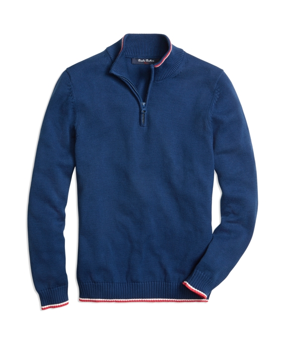 Half-Zip Tipped Sweater Blue