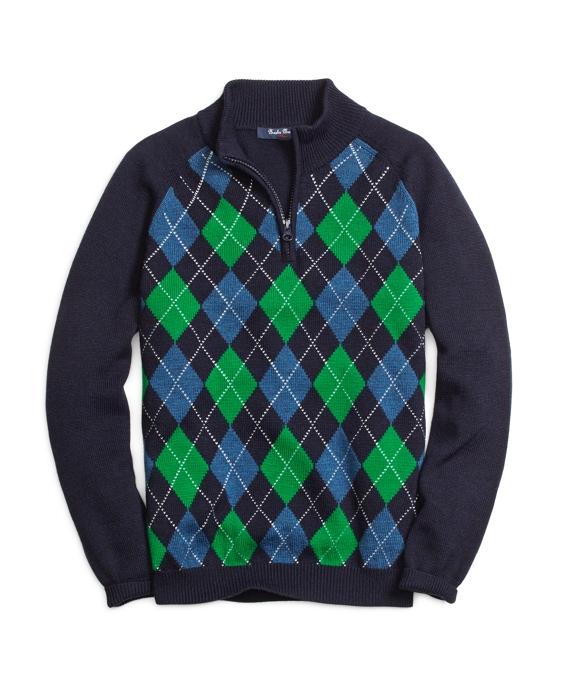 Wool Half-Zip Mockneck Sweater Blue Multi