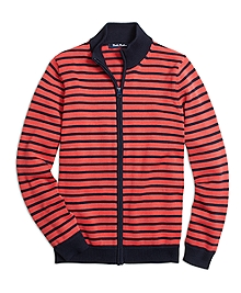Supima® Cotton Full-Zip Stripe Sweater