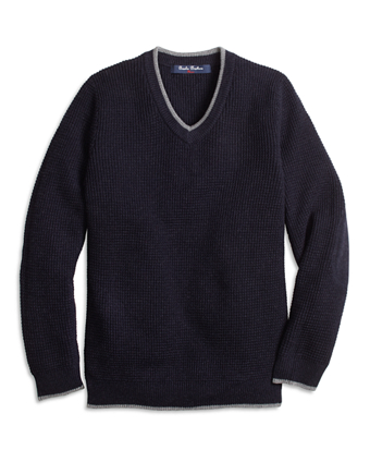 Cotton and Wool V-Neck Sweater