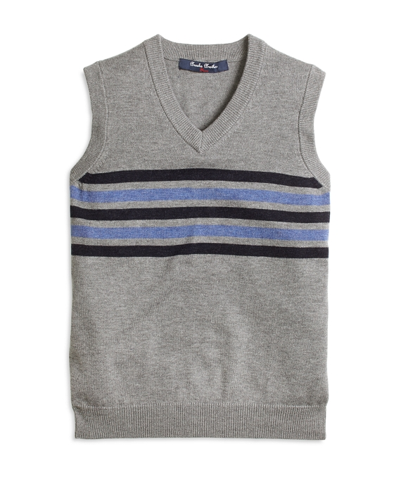 Cotton and Wool Chest Stripe Vest Grey