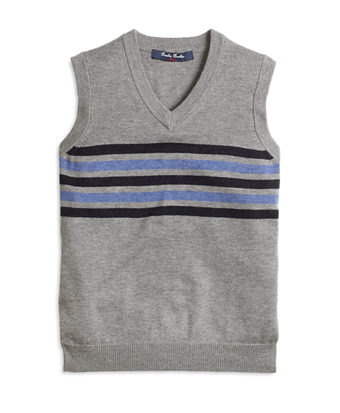Cotton and Wool Chest Stripe Vest