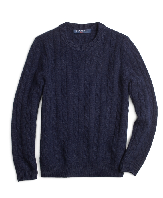 Cashmere Cable Crewneck Sweater Navy