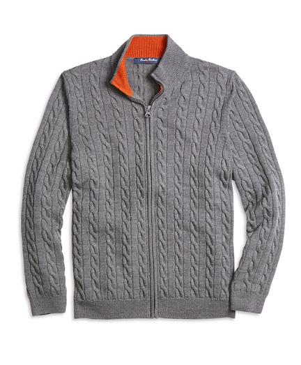 Merino Wool Full-Zip Cable Sweater