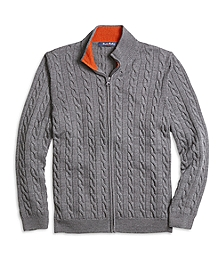 Merino Wool Full-Zip Cable Sweater
